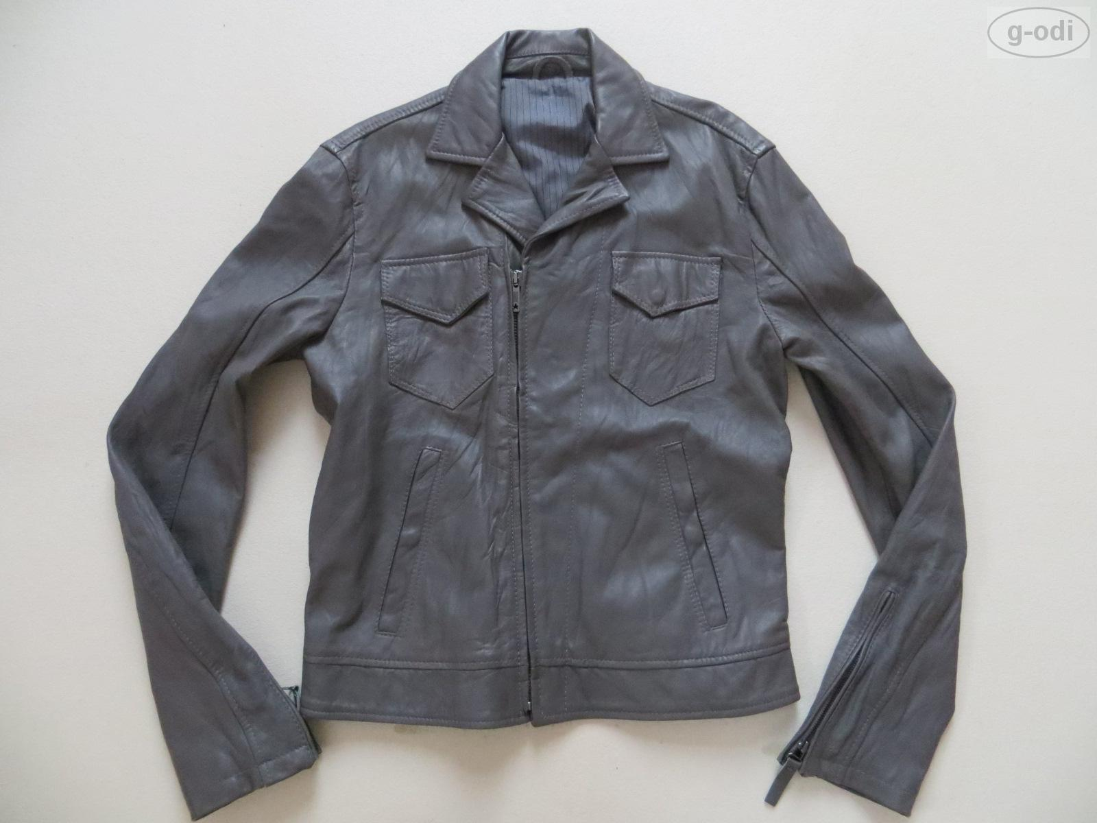 levi 39 s damen biker jeans jacke lederjacke gr l grau wie neu echt leder ebay. Black Bedroom Furniture Sets. Home Design Ideas