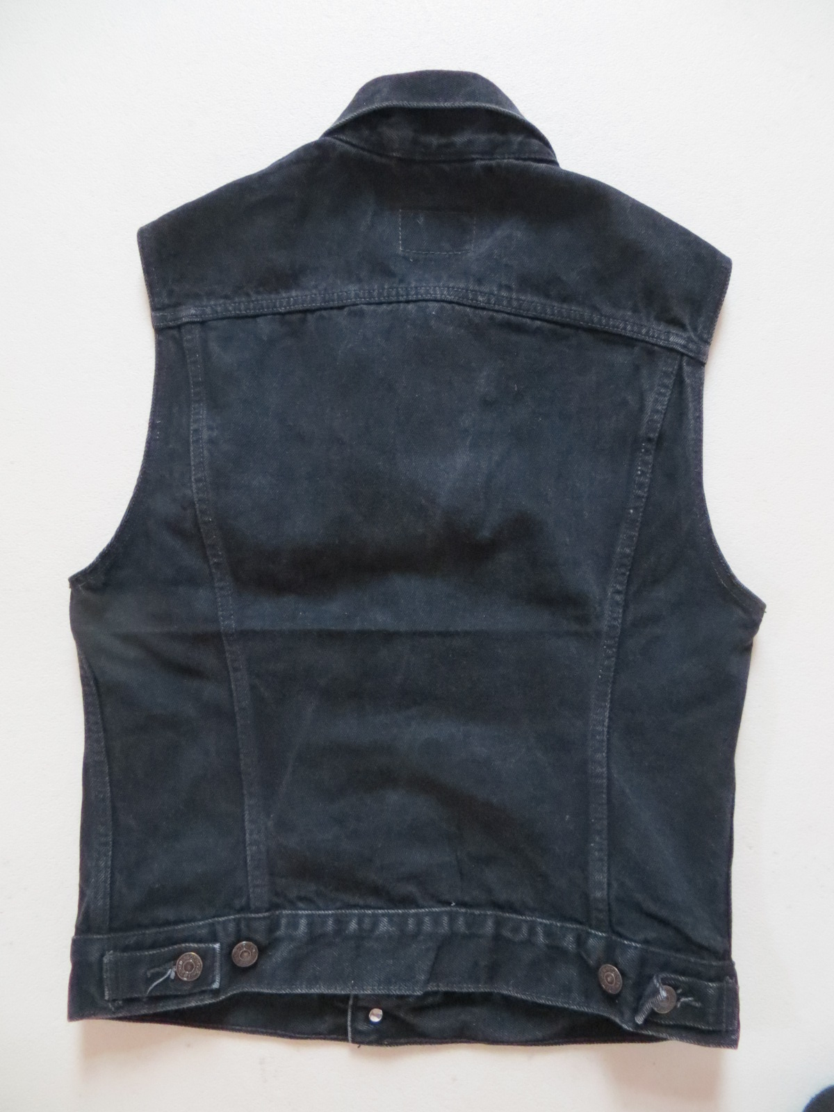 levi 39 s biker weste jeansweste gr m s schwarz oldschool denim slim fit ebay. Black Bedroom Furniture Sets. Home Design Ideas