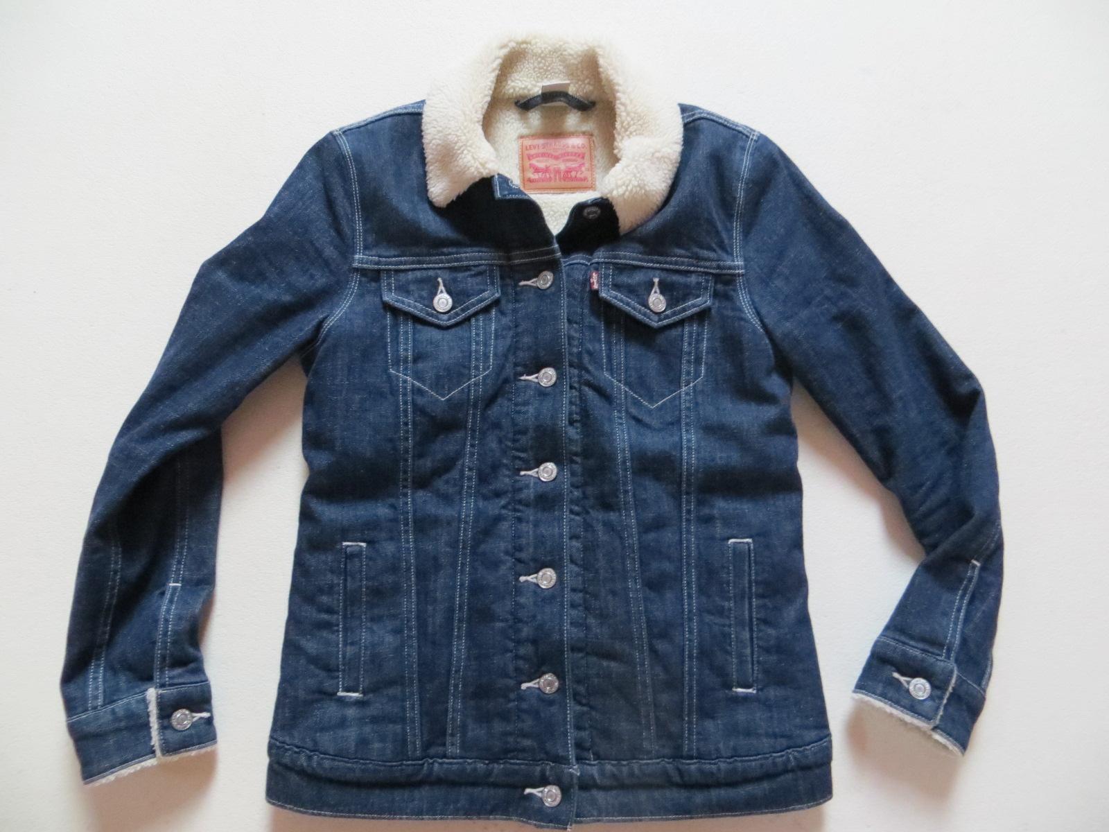 levi 39 s damen jeans jacke mit teddy fell gr xs indigo warm gef ttert wie neu ebay. Black Bedroom Furniture Sets. Home Design Ideas