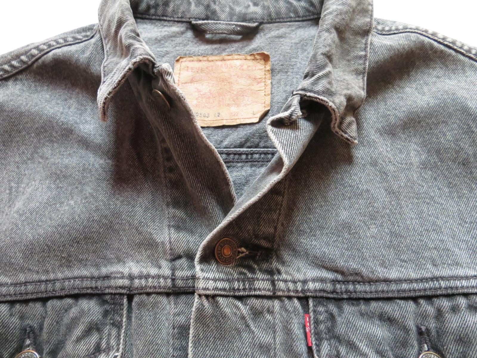Details zu Levi's Biker Jacke, Jeansjacke Gr. L, grau ! Lot 70503 Vintage Denim, KULT !